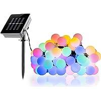 FITFIRST Luz Decorativa Solar 50 LED y 8 Modos Iluminación Impermeable IP65 Luz de Cadena para Fiestas,Patio,Jardín,Árbol de Navidad,etc (Multicolor)