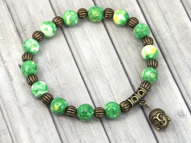 f84e0ef4cdd7 Pulsera vintage tibetana para mujer en cuentas de jade blanco teñidas en  verde y amarillo con
