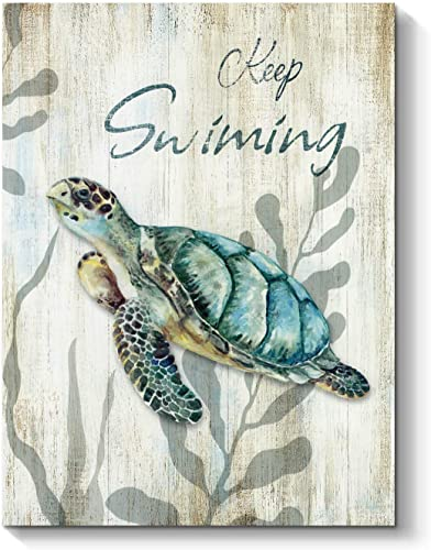 Sea Turtle Canvas Wall Art Swimming Animal Artwork Ocean Painting for Bathroom 24 x 18 x 1 Panel