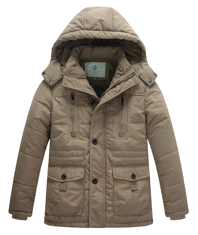 WenVen Boy's Winter Thicken Warm Coat Padded Zipper Hooded Parka Jacket