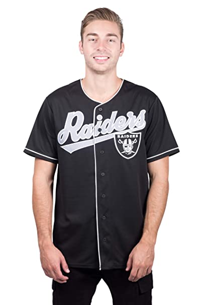 info for 2fa47 6626b Ultra Game NFL Oakland Raiders Men's Standard Baseball Jersey T Button Up  Mesh Shirt, Team Color, Black, X-Large