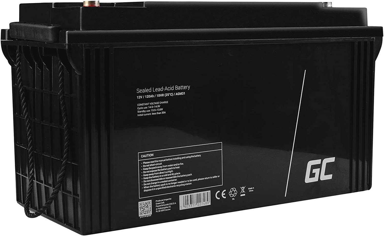 Green Cell® Recambio de Batería AGM (12V 120Ah VRLA B5 M8 Bolt) Pila sellada de Plomo Acido Recargable Sealed Lead Acid VRLA para alarmas de hogar, Juguetes electricos, Sistemas UPS USV, Solarpanel