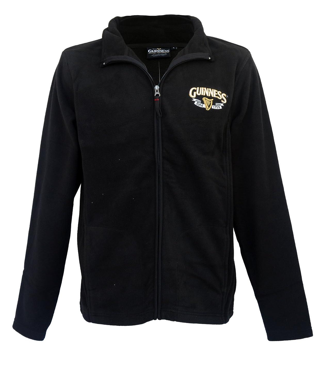 Guinness Full Zip-Up Fleece Jacket With Logo Print, Black Colour