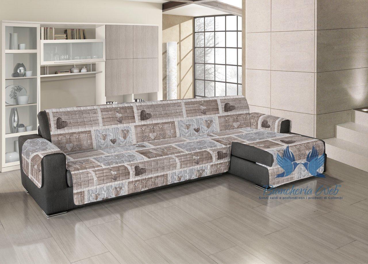 COINGROSTEX Gesteppter Sofabezug für Sofa mit halbinsel Position Shabby Love 240-245 cm beige