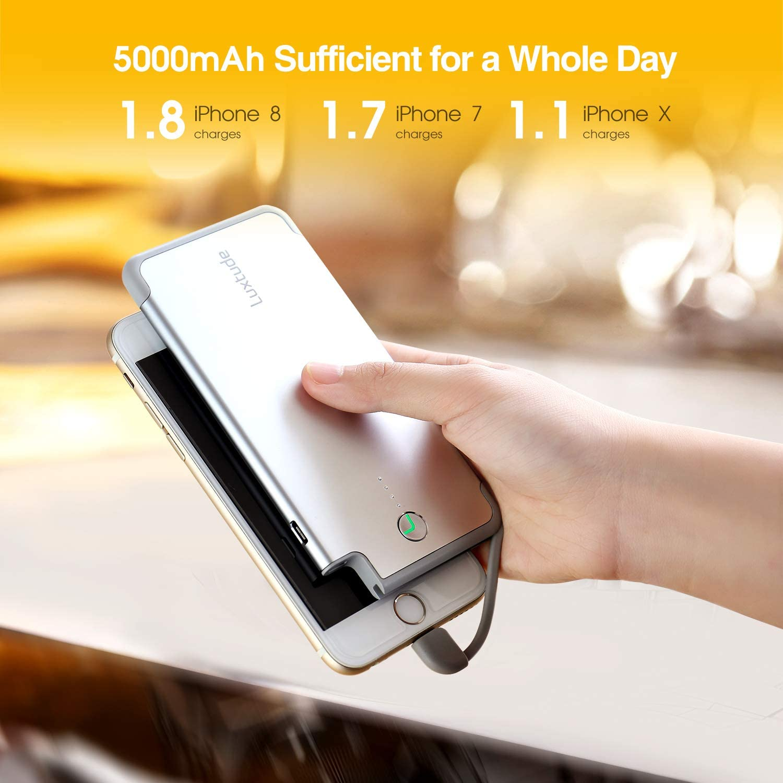 Plata Apple MFI Certificado Luxtude Bateria Externa para iPhone 5000mAh Bateria Portatil Movil Ultrafino con Lightning Cable Incorporado Powerbank Slim para iPhone
