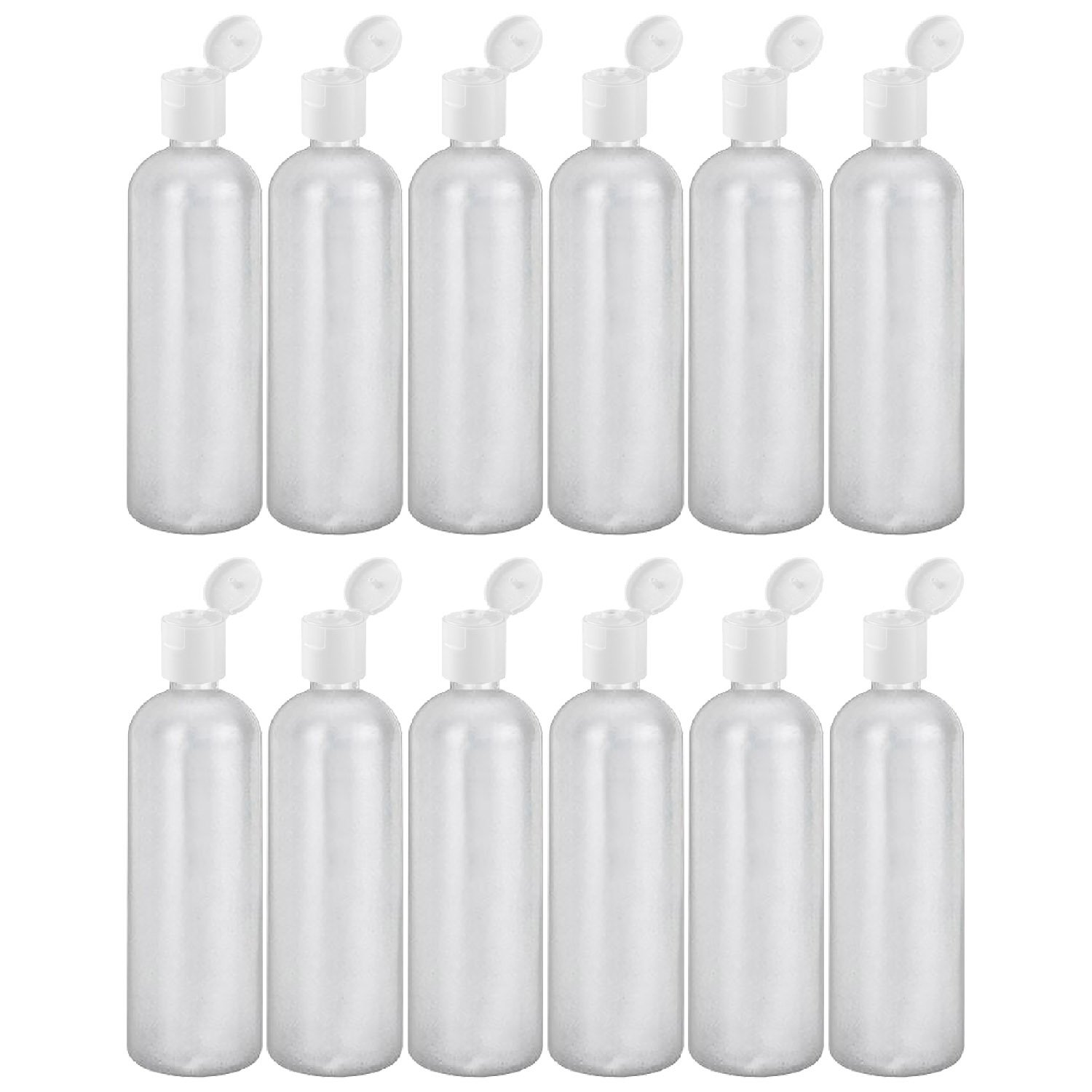 MoYo Natural Labs 32 oz Refillable Bottles, Empty Travel Containers with Flip Caps, BPA Free HDPE Plastic Squeezable Toiletry Cosmetics Bottle Pack of 12, HDPE Translucent White