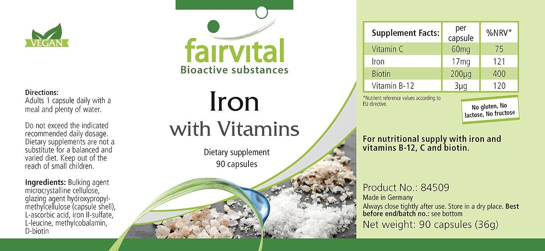 Hierro suplemento con Vitamina C - biotina y B12 - paquete grande durante 3 meses - VEGANO - 90 Cápsulas - ¡Calidad Alemana garantizada!