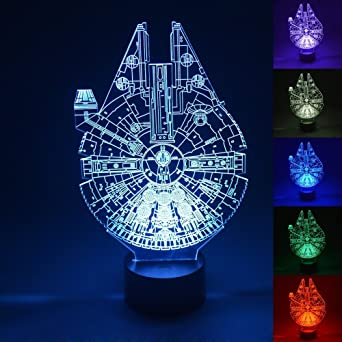 Luz LED en 3d, Star Wars Millennium Falcon Multi 7 color botón de ...