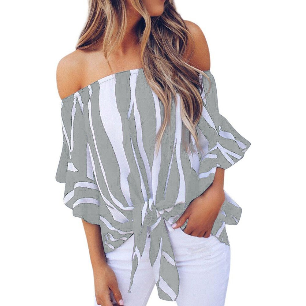 Women Striped Off Shoulder Blouse Waist Tie Front Tunic Tops Sexy Summer Short Sleeve Casual T Shirts Gray