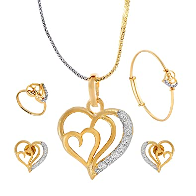 b9dca8bd4d208 Cardinal American Diamond Heart Shape Pendant Necklace Set For Women/Girls  (Combo Of Pendant,Earring,Ring,Bracelet With Chain)
