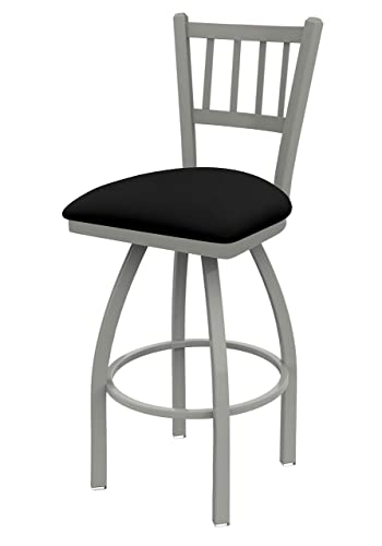 Holland Bar Stool Company 810 Contessa 25-Inch Counter Stool with Anodized Nickel Finish, Black Vinyl Seat and 360 Swivel