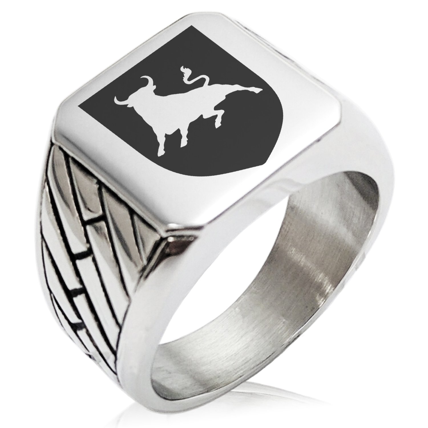 Two-Tone Stainless Steel Bull Bravery Coat of Arms Shield Engraved Geometric Pattern Biker Style Polished Ring, Size 12