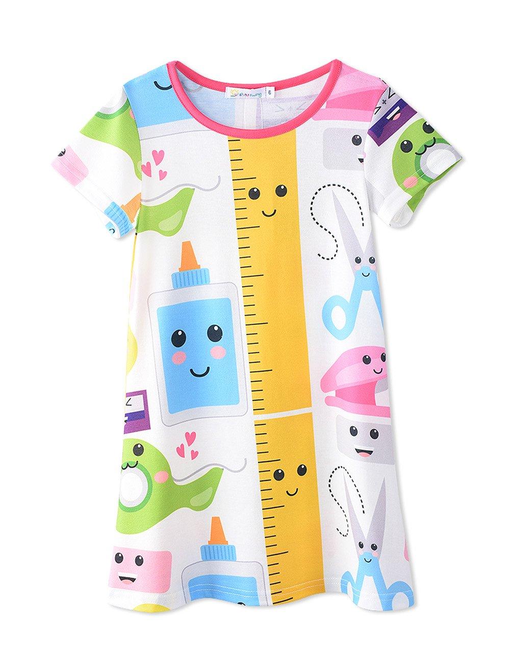 Girl's Kids Summer Round Neck Short Sleeve Smile Cartoon Casual Tunic T-Shirt Dress 8T