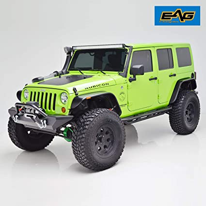 Eag Fender Flares Set Of 4 With Led Amber Side Marker Flat Style Fit For 07 18 Jeep Wrangler Jk