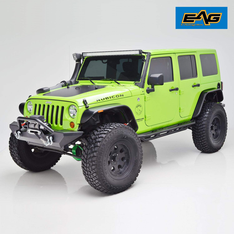 EAG Fender Flares Set of 4 with LED Amber Side Marker Flat Style for 07-18 Jeep Wrangler JK