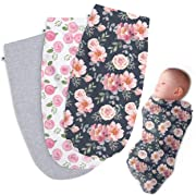 Henry Hunter Baby Swaddle Cocoon Sack | The Simple Swaddle | Soft Stretchy Comfortable Cotton Receiving Blanket for Infants & Newborns 0-3 Months (Garden | Rose | Light Heather)