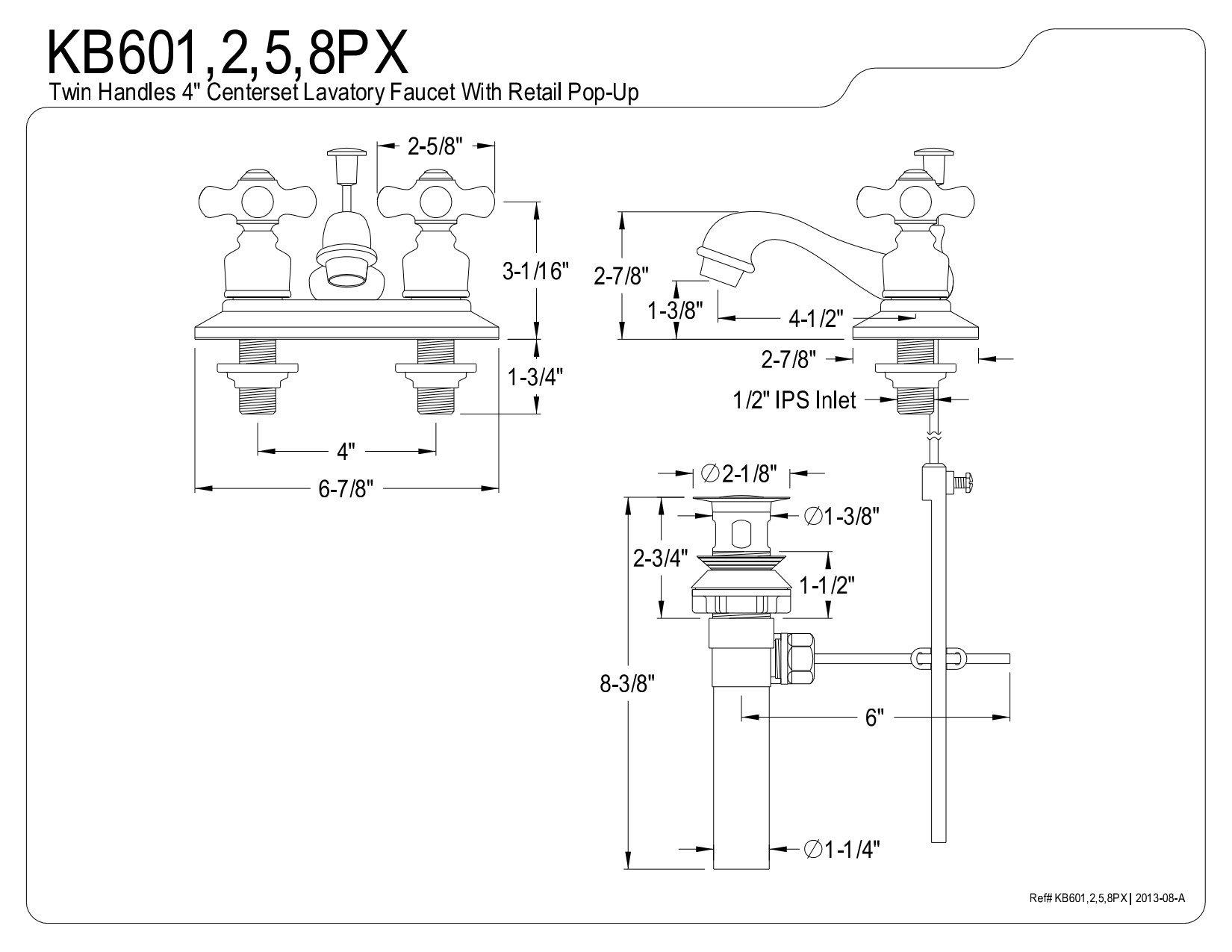 Kingston Brass KB601PX Restoration 4-Inch Centerset Lavatory Faucet with Porcelain Cross Handle, Polished Chrome