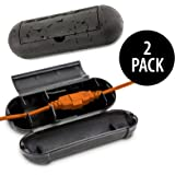 KOVOT Extension Cord Safety Cover Protectors 2 Pack | Black | Protects Plugs & Wires Against Rain & Snow