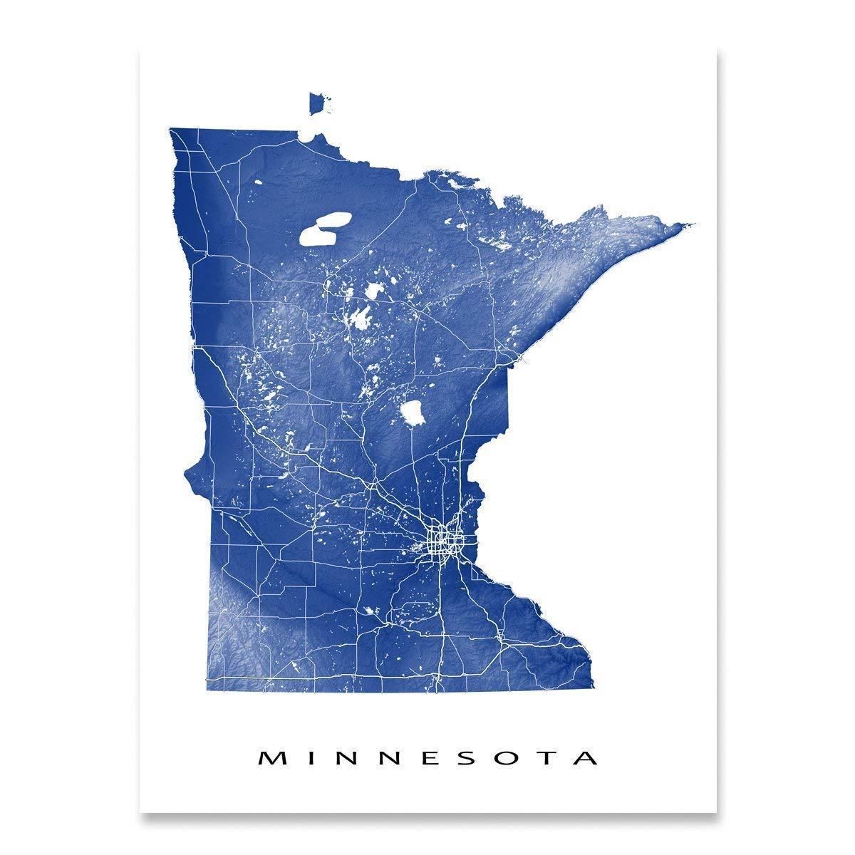 Amazon.com: Minnesota Map Print, MN State Art, USA ...