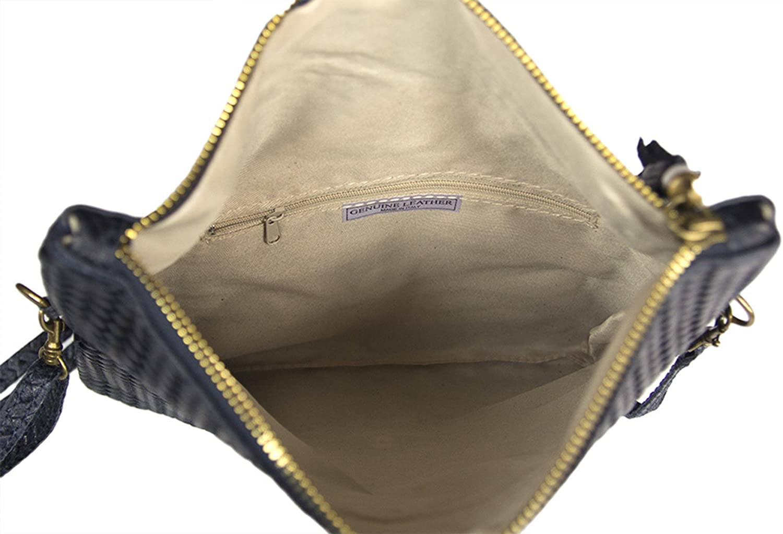 ATELIERS FLORENTINS Pochette et sac bandouli/ère en cuir v/éritable effet tress/é Made in Italy