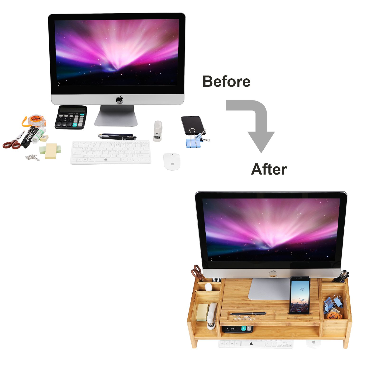 SONGMICS Bamboo 2-Tier Monitor Stand Riser with Adjustable Storage Organizer Laptop Cellphone TV Printer Stand Patented ULLD213 by SONGMICS (Image #6)
