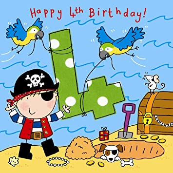 Twizler 4th Birthday Card For Boy With Pirate Dog Parrots And