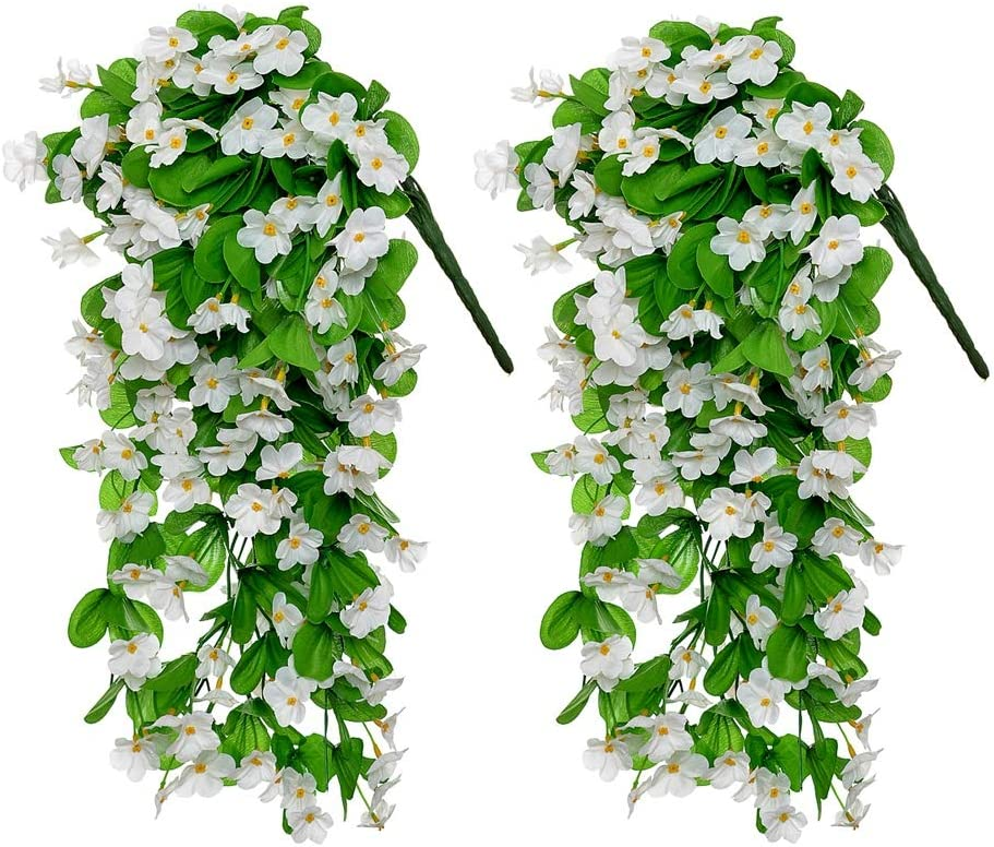Artificial HangingFlowers, 2 Pack Fake Colorful Orchid Plant Bouquet for Wall Home Room Garden Wedding Party Garland Outside Decoration (White)
