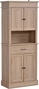 HOMCOM Traditional Freestanding Kitchen Pantry Cabinet Cupboard with Doors and Shelves, Adjustable Shelving, Oak