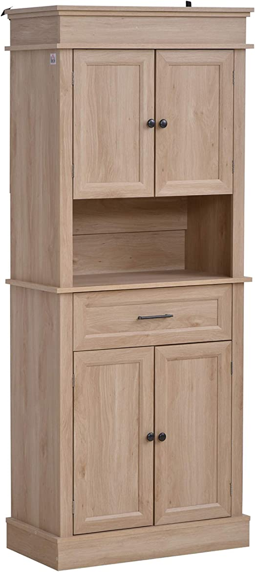 Amazon Com Homcom Traditional Freestanding Kitchen Pantry Cabinet Cupboard With Doors And Shelves Adjustable Shelving Oak Furniture Decor