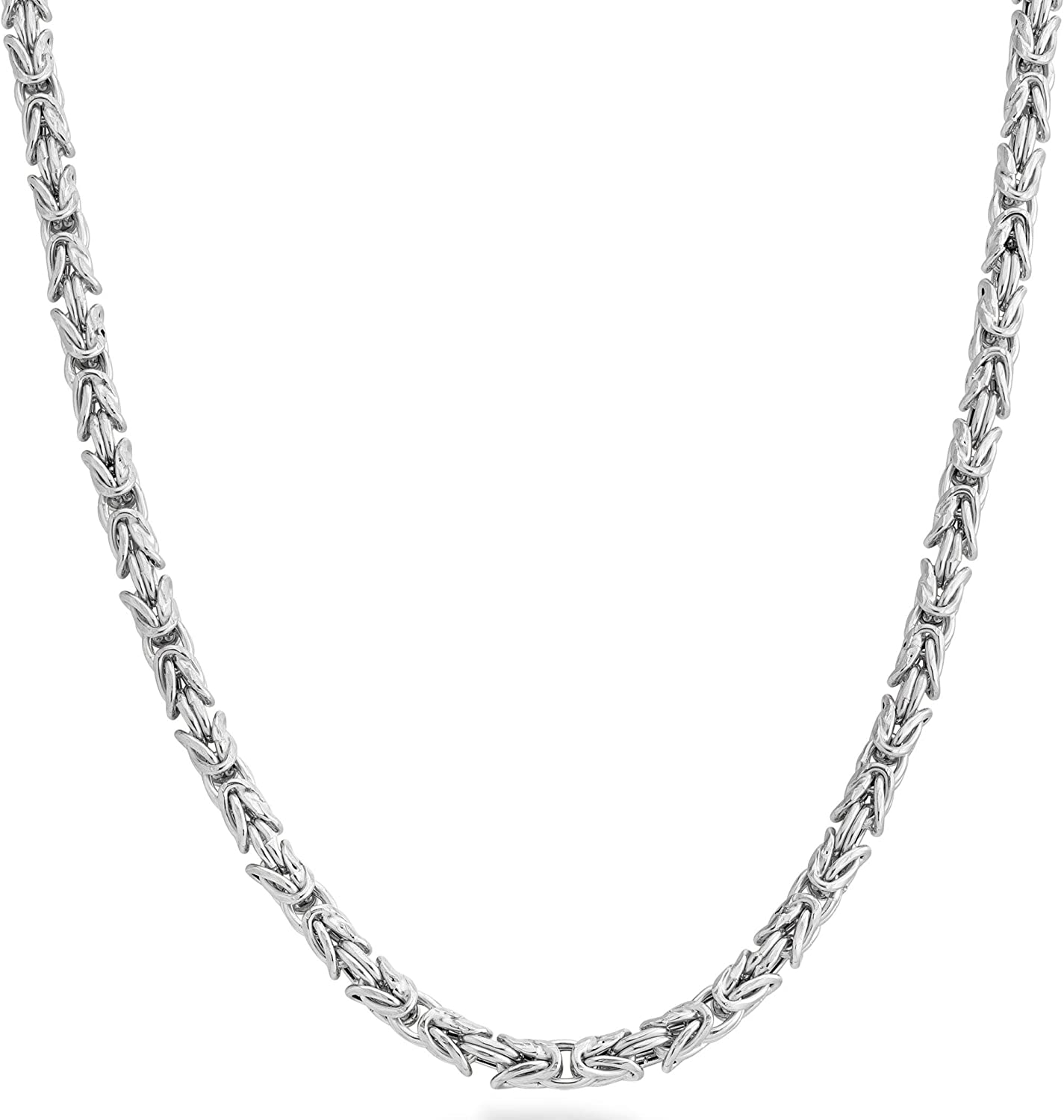 Miabella 925 Sterling Silver Italian 4.5mm Solid Round Byzantine Link Chain Necklace for Women Men, 18, 20, 22, 24, 26 Inch 925 Handmade in Italy