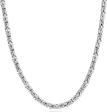 Miabella Byzantine Link Sterling Silver Chain Necklace
