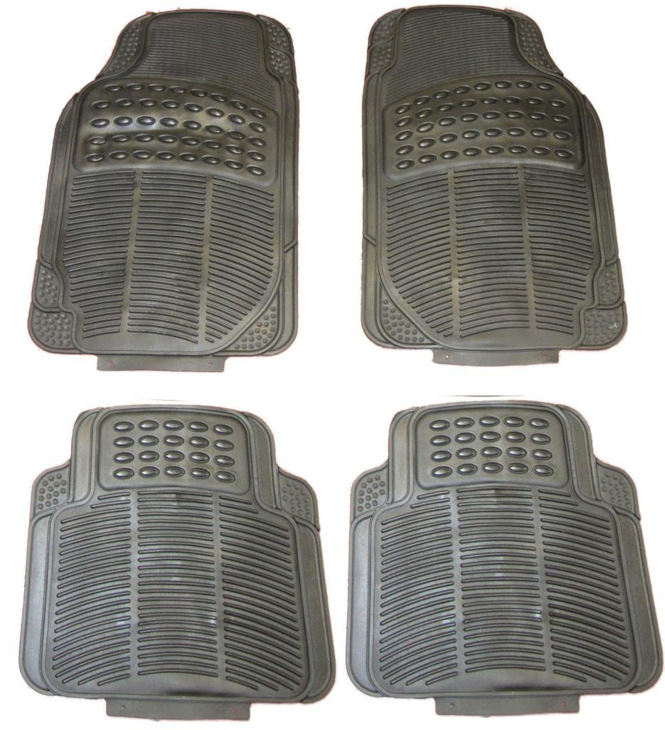 Xtremeauto Waterproof Heavy Duty BLACK Rubber Front & Rear Car Non-Slip Floor Mats STICKER XtremeAuto®