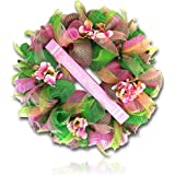 "Custom & Unique (26"" Inches) 1 Single Large Size Decorative Holiday Wreath for Door w/ Ribbons Bows w/ Flowers Happy Bright Floral Sunshine Spring Easter Festival Style (Pink, White, Green & Yellow)"