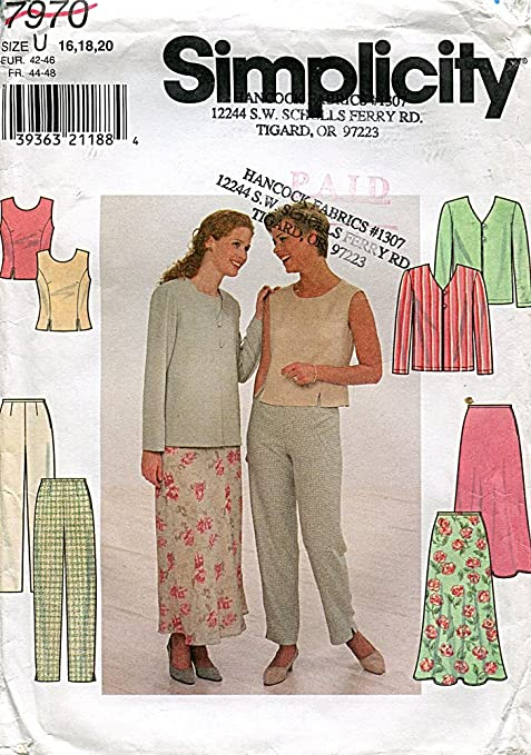 Simplicity 7970 MIsses/' Jacket Top Pants and Skirt   Sewing Pattern