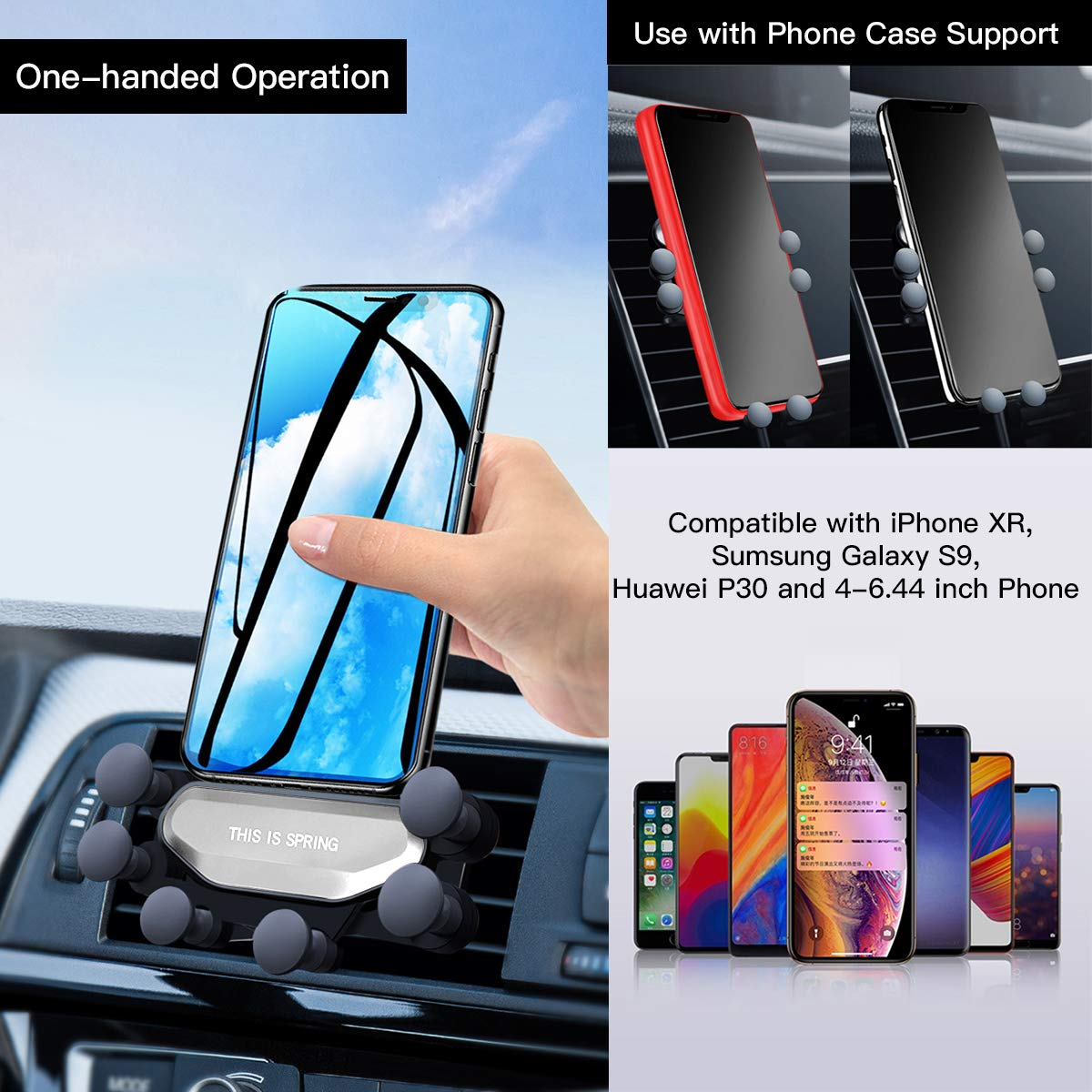 Samsung Galaxy S10 5G//S10//S10e Gravit/é Universal Porte T/él/éphone Voiture avec 7 Points R/églable Support Voiture pour iPhone XS//XS Max//XR Support T/él/éphone Voiture Mini Ventilation Google Pixel 3a