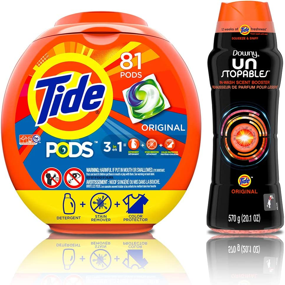 Tide Pods HE Turbo Laundry Detergent Packs, Original Scent, 81 Count with Scent Booster Beads