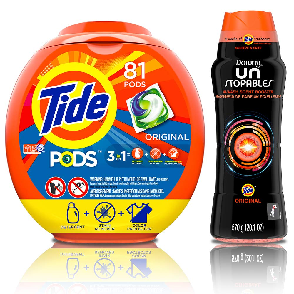 Tide PODS Ultra Oxi 4 in 1 HE Turbo Laundry Detergent Pacs, 61 Count Tub  with In-Wash Scent Booster