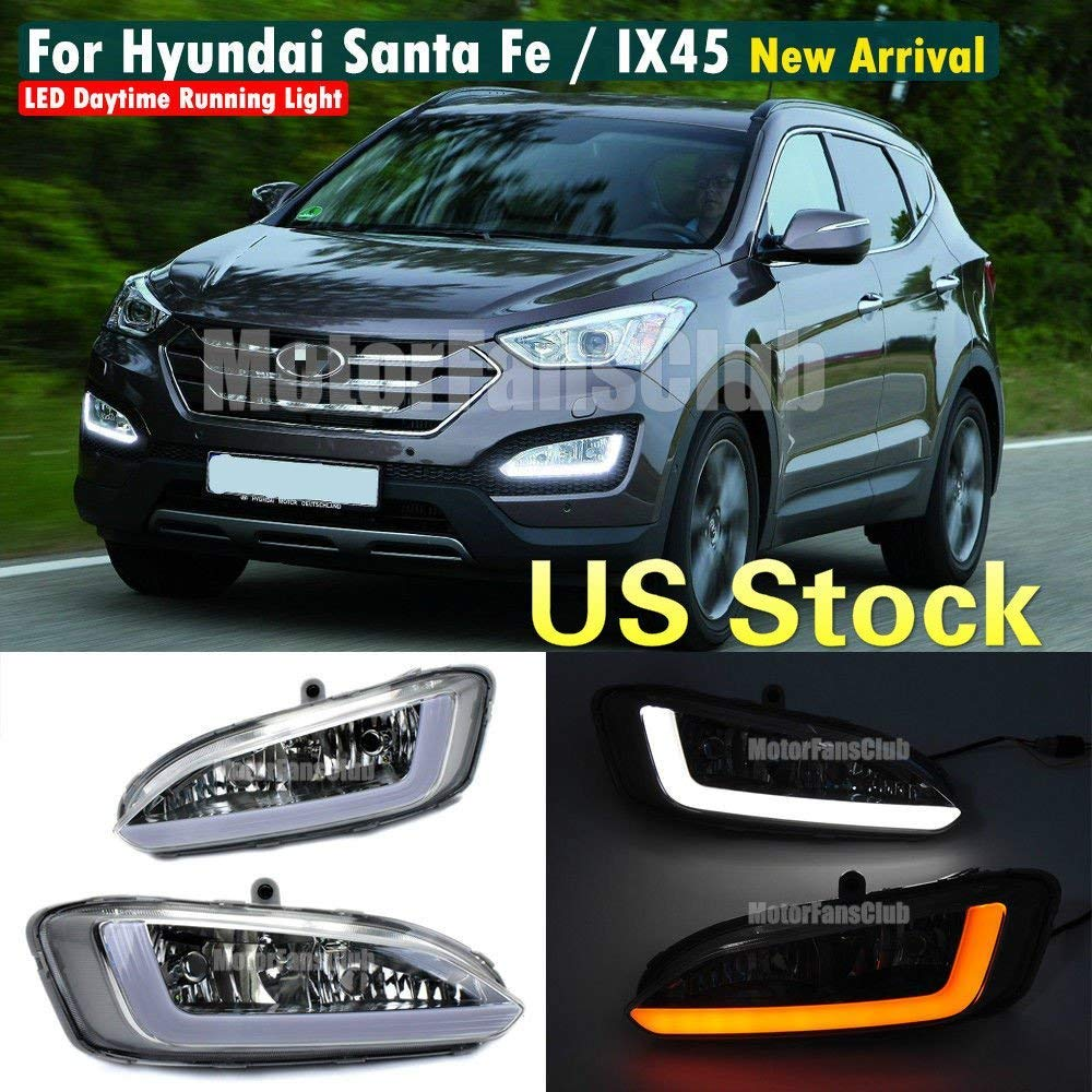 MotorFansClub Daytime Running Light LED DRL Fog Lamp for Hyundai Santa Fe IX45 2013-2015 with Turn Signal