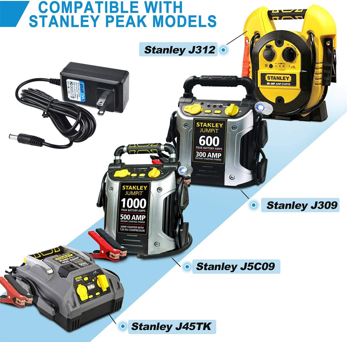 Peak 300 450 600 700 Amp Jump Starter Portable Power Station PwrON 6.6FT AC DC Adapter Compatible with Stanley J5C09 J312 J45TK Jump Starter Stanley FATMAX 700 Peak 350 AMP J7CSR J7CS Jump Starter