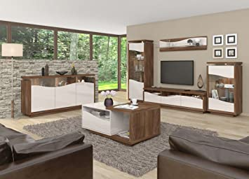 Wohnzimmer Komplett   Set A Patamea, 6 Teilig, Farbe: Nussfarben / Creme