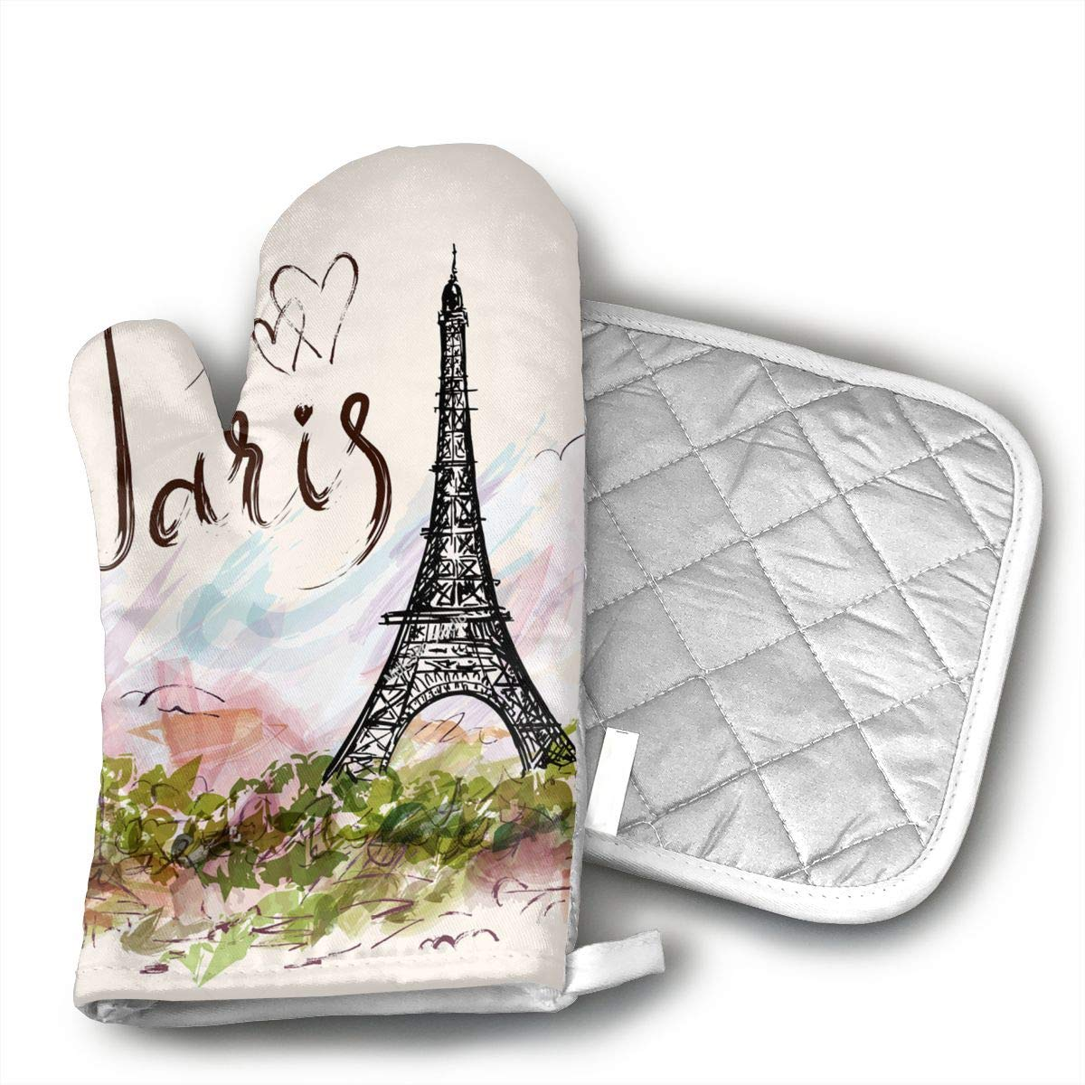HEPKL Oven Mitts and Potholders The Famous Paris Eiffel Tower Non-Slip Grip Heat Resistant Oven Gloves BBQ Cooking Baking Grilling