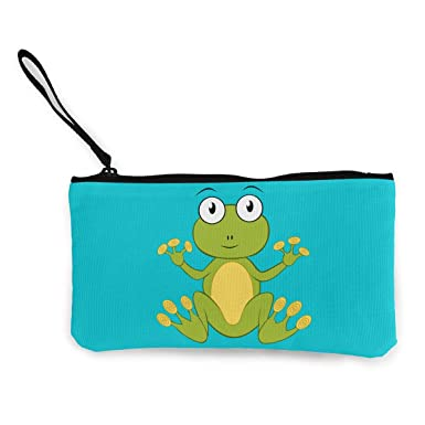 Amazon.com: Cartoon Frog - Monedero de lona con cremallera ...