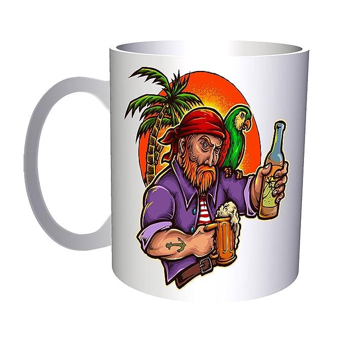 Pirata loro cerveza bebida palmera invitación tatuaje 330 ml taza ...