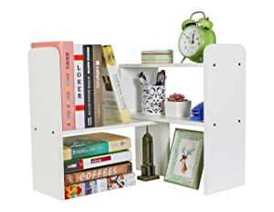 PAG Desktop Bookshelf Adjustable Countertop Bookcase Office Supplies Wood Desk Organizer Accessories Display Rack, Pure White