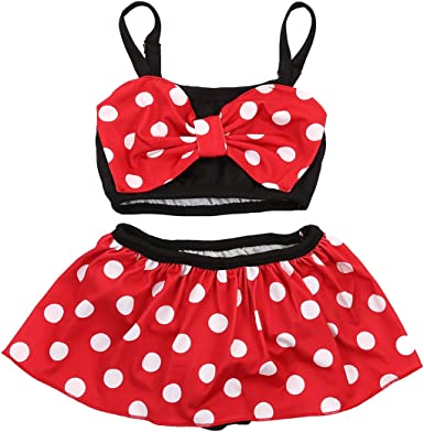 2PCS Kid Baby Girl Tankini Swimsuit Swimwear Peplum Polka Dots Bathing Beachwear