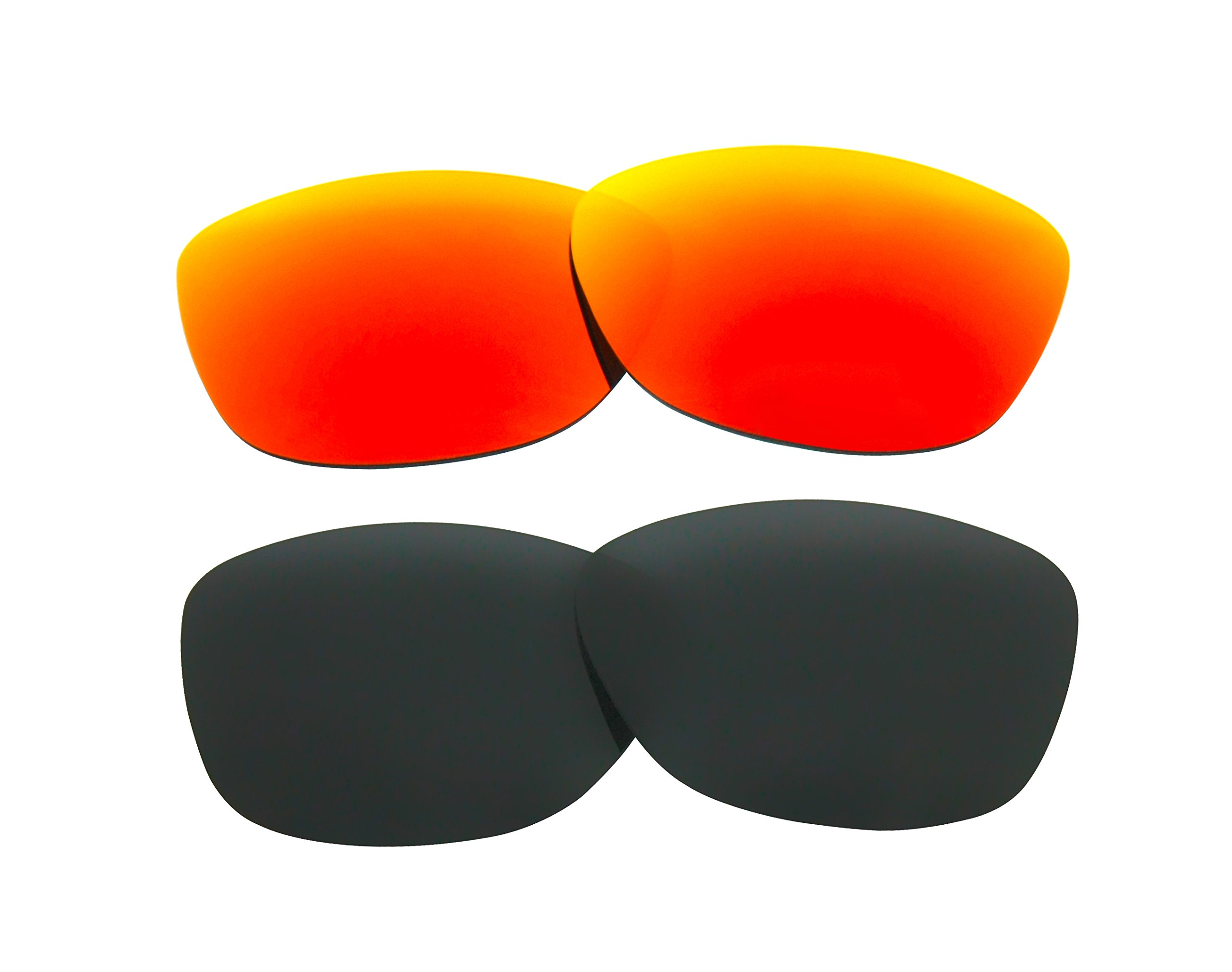 2 Pairs Polarized Replacement Sunglasses Lenses for Oakley Frogskins with UV Protection(Black and Fire Red Mirror) by C.D