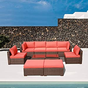 OC Orange-Casual 10 Piece Outdoor Furniture Sectional Sofa Set Rattan Wicker Patio Conversation Set with Seat and Back Cushions & Coffee Table, Brown & Orange