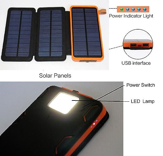 Amazon.com: Cargador solar impermeable 30000 mAh Banco de la ...