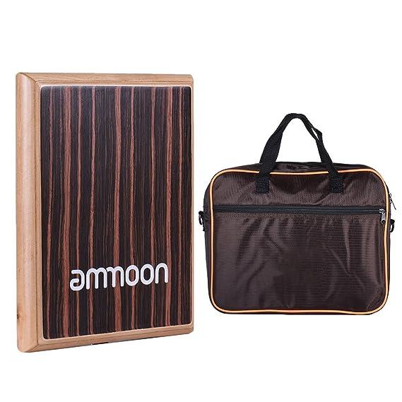 ammoon カホン トラベルカホン ドラム 31.5 * 24.5 * 4.5cm ゼブラ木 パーカッション・打楽器 (エボニーカラー(バッグ付き))
