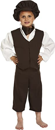 Kids Victorian Urchin Oliver Poor Boy Book Week Fancy Dress Costume Party Outfit